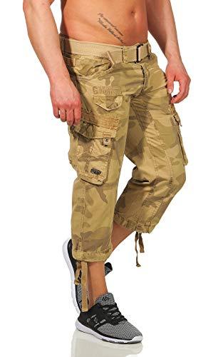 Geographical Norway Pantalones 3/4 Cargo para hombre, Bermuda, incluye cinturón, grandes bolsillos laterales Camo beige. L