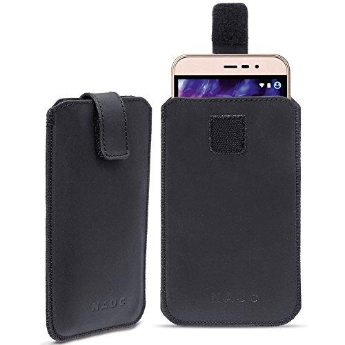 Leder Tasche für Medion Life E5006 E5005 Handy Hülle Cover Pull Tab Lederhülle, Farbe:Schwarz