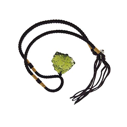 YUY Moldavite Crystal Necklace Irregular Stone Pendant Green Natural Crystal Energy Stone Necklace Gift for Man and Women 4 to 7g