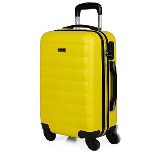 ITACA - Maleta Cabina Avion Pequeña con Ruedas de Viaje rígida para Hombre Mujer. Trolley 55x38x20 cm ABS. Equipaje de Mano. Cómoda, Ligera. Low Cost Ryanair. 71250, Color Amarillo