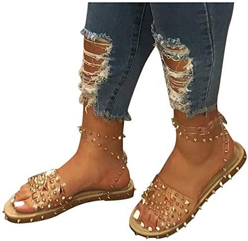 SP Line-Style Buckle Open Toe Flat with Rivet Sandals, Hidden Elevator Heel Ankle Strap Rivet Plain Flats Shoes, Womens Flatform Sandals Summer Beach Rain Shoes (Brown,10.5)
