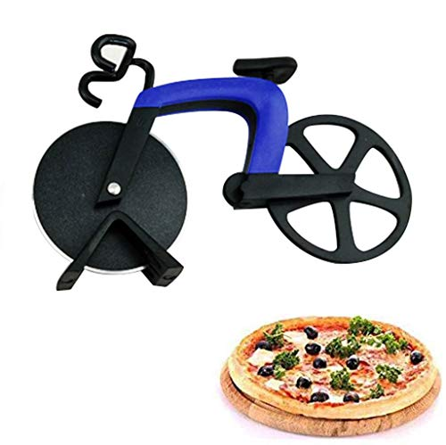 Creative Bicycle Pizza Cutter 18,5 X 11,5 Cm, Bike Pizza Knife Slice Dual Stainless Steel Non-Stick Cutting Wheels, Cool Kitchen Gadget,Blue
