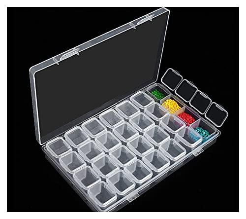 FLJBDHN 28 Accesorios de Pintura de Diamantes de Caja de cuadrícula Bricolaje Bordado Herramienta de Punto de Cruz Set HOGoría Piezas de Almacenamiento (Color : Transparent)