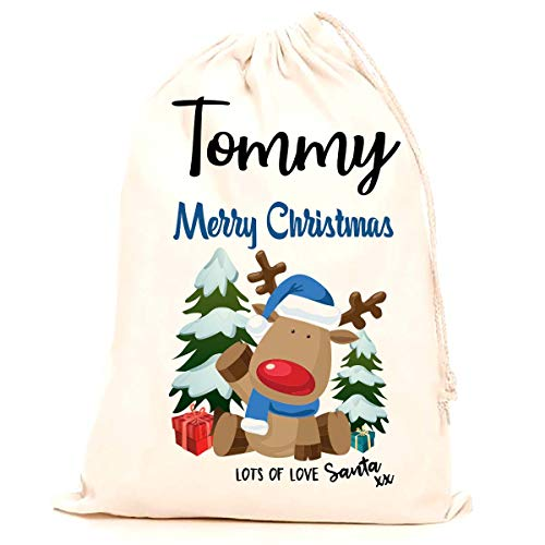 Personalised Christmas Santa Sack with Any Name Boys Stocking Printed with a Blue Reindeer (75x50cm) 100% Cotton Extra Large. 70x50cm Children, Kids, Making it The Perfect Keepsake Xmas Gift/Present.