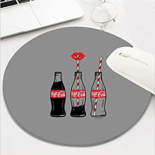 Computer Gaming Mouse Pad Waterproof Non-Slip Rubber Material Round Mouse Mat for Office and Home(8 Inch)-coca cola Sippin...