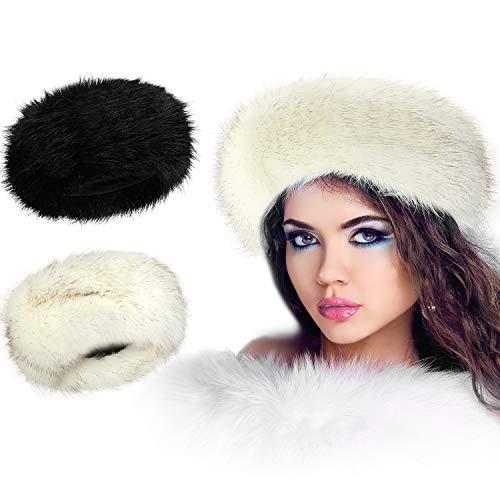 SATINIOR 2 Stücke Frauen Kunstpelz Stirnband mit Elastischen Winter Ohrenwärmer Ohrenschützer Ski Hut