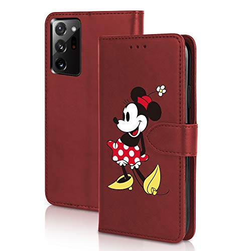 DISNEY COLLECTION Samsung Galaxy Note 20 Ultra 5G Case Wallet Cute Minnie Mouse Pattern Magnetic Premium PU Leather Wallet Case with Card Holder for Samsung Galaxy Note 20 Ultra 5G 2020 Release