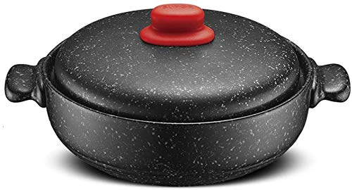 Cazuela De Granito Antiadherente, Olla Grande De Granito, Utensilios De Cocina De Cerámica Para Estufa, Olla Para Sopa Resistente Al Calor, Olla Con Tapa, Olla Para Estofado Len(Color:Negro,Size:2.5L)