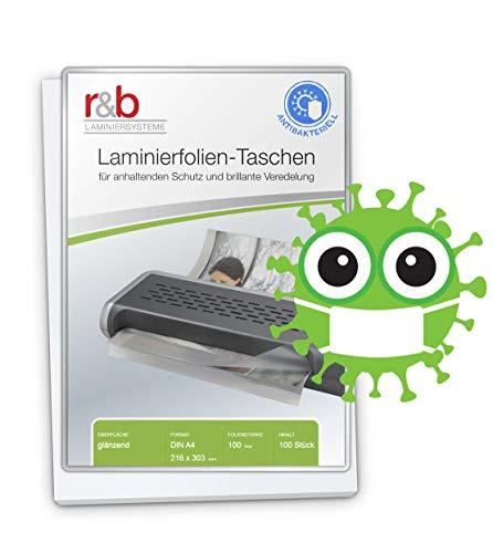 Láminas para plastificar A4 antibacterias, 100 unidades de láminas premium contra la adherencia de virus y bacterias, (216 x 303 mm) en 2 x 100 MIC, resistentes al agua, irrompibles en brillo