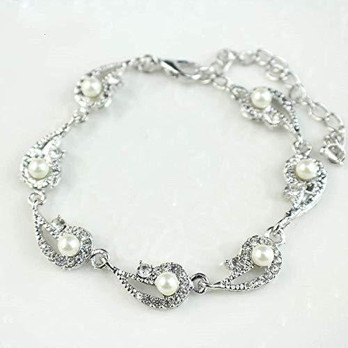 Oaisij Pulsera de Perlas Pulsera de Plata de joyera de la Cadena de Cristal