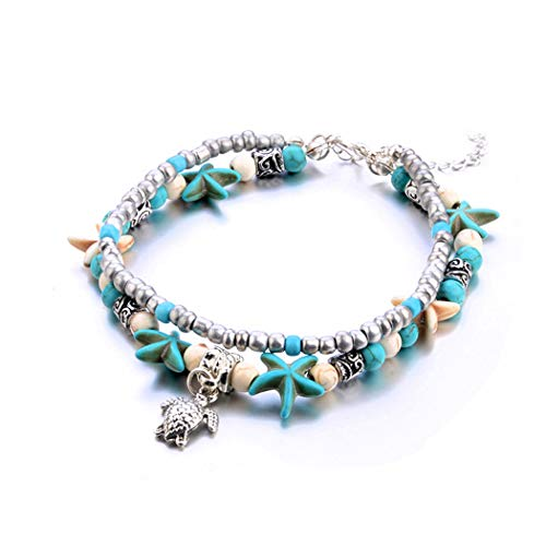 Lovogue Starfish Turtle Turquoise Bohemian Anklet Bracelet Beach Anchor Elephant Owl Foot Chain Heart Barefoot Sandal Jewelry for Women and Girls (Turtle)