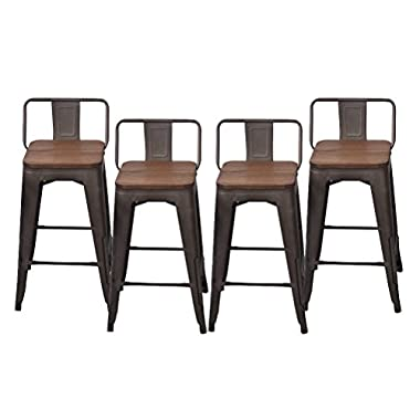 Changjie Furniture Pack of 4 Low Back Gunmetal Counter Bar Stool Indoor-Outdoor Bistro Cafe Bar Stools (26 inch, Low Back Wooden)