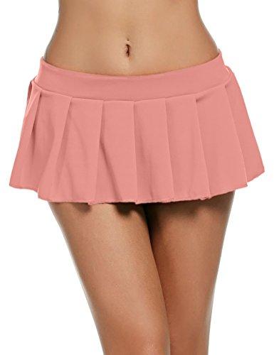 Avidlove Mini Rock Schulmädchen Skirt Damen Kurz Minirock Röcke Frauen Sexy Dessous Solid gefaltet Nachtwäsche Reizvolle, Rosa, XXL