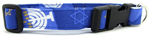 Hanukkah Dog Collar with Quick Release Buckle, Medium, 1 Inch Wide.
