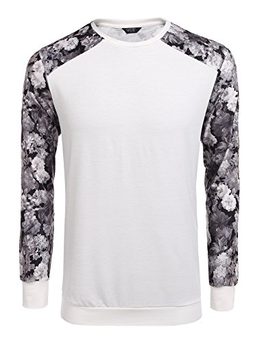 Coofandy Men's Fashion Floral Long Sleeve Baseball T-Shirts Casual Jersey Sweatshirt