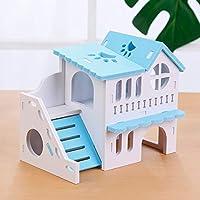 ハムスターハウス ハムスターの隠れ家ハウス木造二層小屋のためにヘッジホッグマウスチンチララットスナネズミのドワーフ ハムスターの木造住宅 (色 : 青, Size : 16x10x14cm)