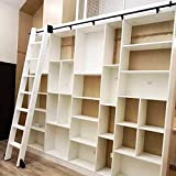 YDYFC Riel de Escalera móvil de Tubo Redondo Deslizante 3.3 pies a 20 pies para el hogar/Interior/Loft/Biblioteca, con Ruedas de Piso (sin Escalera) Juego Completo de herrajes - Hierro Forjado Negro
