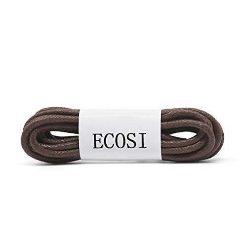 ECOSI Waxed Round Dress Shoe Laces For Oxford/Boots/Chukka | Thick 3.5mm Dress Shoelaces | Shoe Strings-54in-Brown
