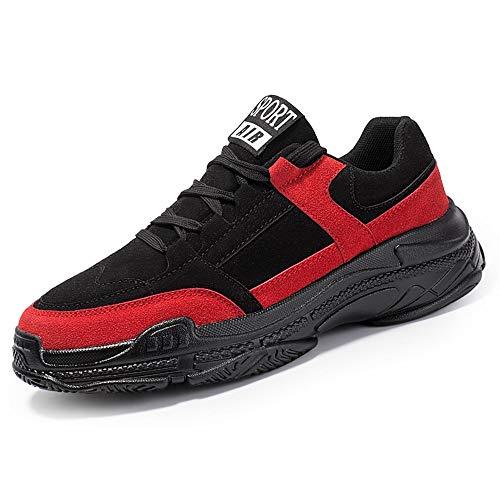 Zapatos casuales Zapatos deportivos para hombres, utilizados para correr zapatos deportivos, con cordones de gamuza Faux (Color : Black, Size : 44 EU)