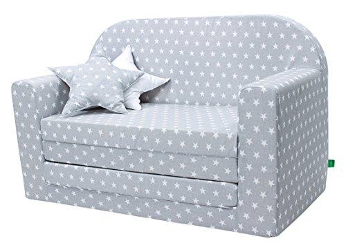 LULANDO Classic Kindersofa Kindercouch Kindersessel Sofa Bettfunktion Kindermöbel zum Schlafen und Spielen, Farbe: Sternchen Grau