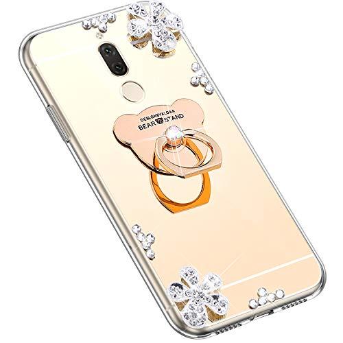 Uposao Kompatibel mit Huawei Mate 10 Lite Hülle Silikon Spiegel Handyhülle Schutzhülle mit 360 Grad Ring Ständer Glitzer Kristall Strass Diamant Mädchen Handy Tasche Silikon Hülle Case,Gold