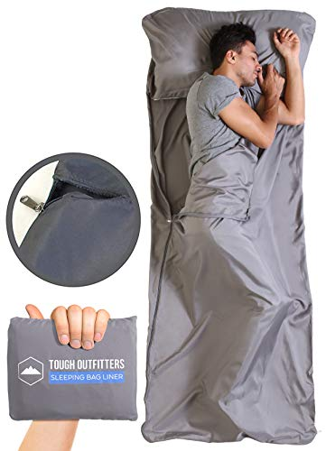 Tough Outdoors XL Sleeping Bag Liner - Travel Sheet for Adults - Lightweight Sleeping Sack for Camping, Traveling, Hotels & Backpacking - Smooth & Breathable Fabric