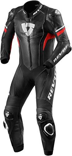 Revit Hyperspeed Racing Combi - Mono de cuero para moto, perforado, color negro y rojo neón, talla 50
