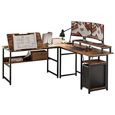 IRONCK L Shape Computer Desk Corner Table with Storage Shelves, Drafting Table with Tiltable Tabletop and Printer Monitor Shelf Multi-Usage Large Industrial Office Desk Workstation