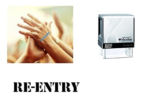 RE-ENTRY Hand Stamp - suitable for Festivals, Parties, Clubs, Special Events, Bars etc. (Black)