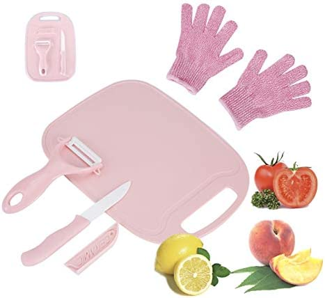 Fansisco 4 Pieces Kids Cooking Supplies Knife Set and Cutting Board with Cut Resistant Gloves product image