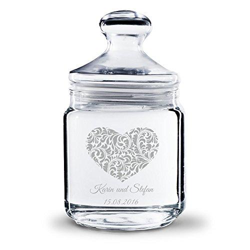 Personello® Keksglas Vorratsglas mit Gravur (mit Namen und Datum graviert), Herz Motiv, Geschenk für Paare und Verliebte, zum Jahrestag oder Valentinstag (klein = 17,5cm)