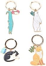 JUNKE 4 PCS Animal Shape Style Keychain Novelty Metal Enamel Cute Fox Cat Key Chain Charmed Gifts Keyring for Kids Women Girls Boys