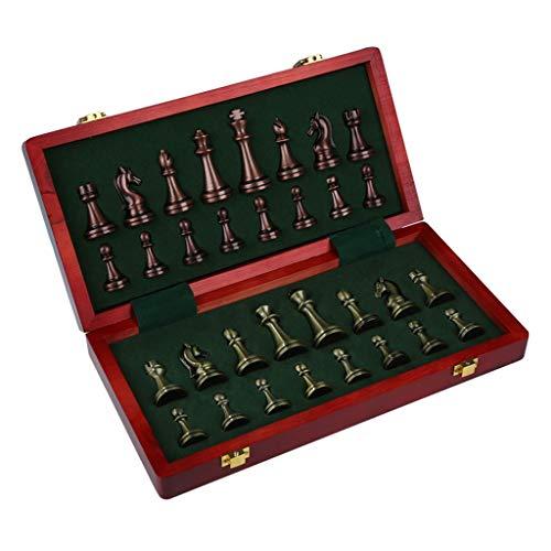 YBYB Ajedrez Conjunto de ajedrez de Madera de Lujo con Almacenamiento Interno Piezas de ajedrez de Metal Vintage de Madera Tablero de Madera Juegos de ajedrez Plegable Regalo Juego de Ajedrez