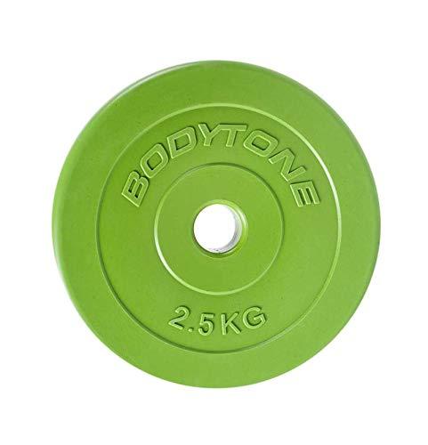 BT BODYTONE - D28/2 - PVC Disc Green 2,5kg Ø28mm - Disco de Pesas 2,5kg para musculación para Barra de 28mm