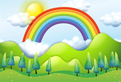 NEW 7x5ft Colorful 3D Rainbow Backdrop Scenic Sunrise Landscape in Fairyland Photography Background Kids Birthday Party Decoration Son Daughter Girl Portrait Photobooth Digital Wallpaper
