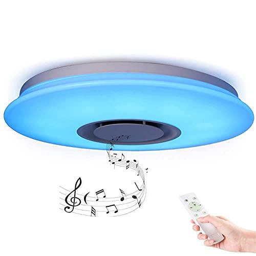kzytamz Luz Moderna LED 36W Redonda Plafón Lampara Techo Colores Brillo Iluminación De Techo De Interior con Altavoz Bluetooth Y Mando A Distancia para Habitación,Cocina,Sala