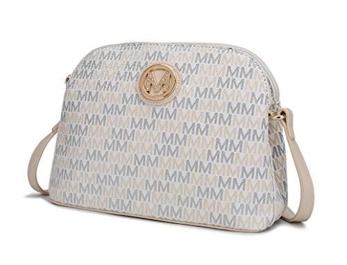 Mia K. Collection Crossbody bag for women - Removable Adjustable Strap - Vegan leather Crossover Designer messenger Purse White