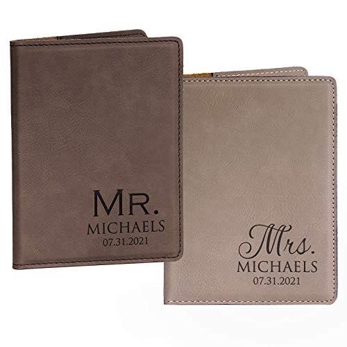 Pair (2) Personalized Mr. & Mrs. Passport Cover Pair - Dark & Light Brown, Personalized Mr. Mrs. Passport Cases, Mr Mrs Passport Holders