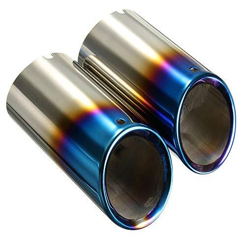 REAMIC 2 * Azul Asado para 2006-10 E90 E92 325 3 Serie Silenciador Punta De Tubo De Escape En Acero Inoxidable para AutomóVil