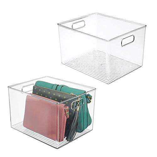 mDesign Plastic Home Storage Basket Bin with Handles for Organizing Closets, Shelves and Cabinets in Bedrooms, Bathrooms, Entryways and Hallways - Store Sweaters, Purses - 8' High, 2 Pack - Clear
