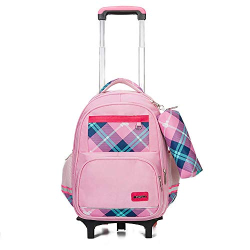 DHTOMC Kids Trolley Bag Rolling backpack for School, sixwheeled luggage for students in grades 16, waterproof mediumsized luggage backpack with wheels Xping (Color : Pink, Size : B)