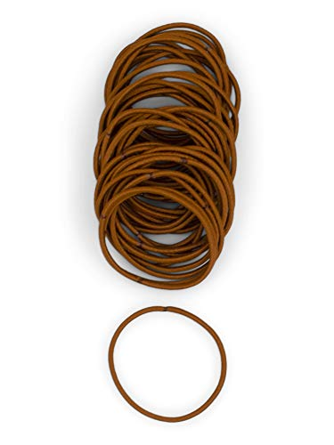 Heliums Dark Copper Orange Thin 2mm Hair Elastics, Color Match Hair Ties for Fine Hair, Redheads, 1.75 Inch Standard Size - 40 Count