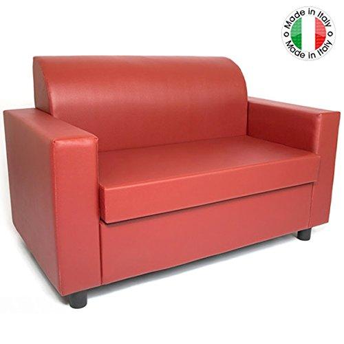 BAKAJI Divano 2 POSTI con Braccioli Divanetto Attesa Poltrona Relax in Ecopelle Colore Rosso Made in Italy