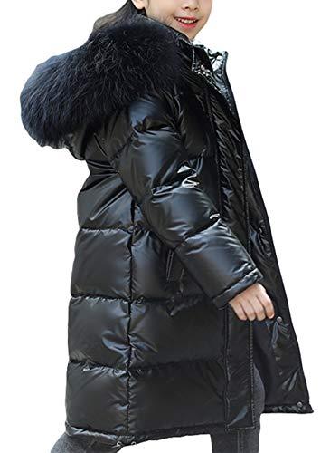 PENER Girls Boys Thick Warm Hooded Down Jacket with Faux Fur Collar Children Winter Waterproof Long Coat (150-160, Black)