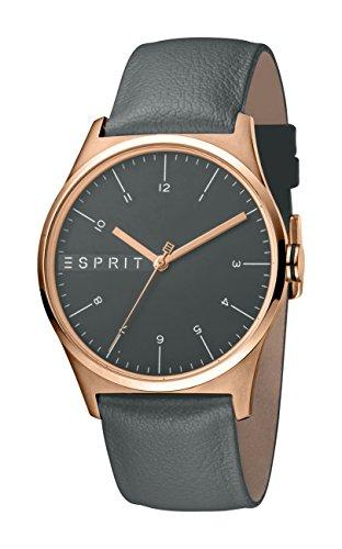 Esprit Herren Analog Quarz Uhr mit Leder Armband ES1G034L0035