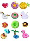 Sunnyillumine 12 PC Mixed Inflatable Coasters Inflatable Drink Holder Float,Fruit Donuts Flamingo Swan Plam Duck Inflatable Pool Cup Holders