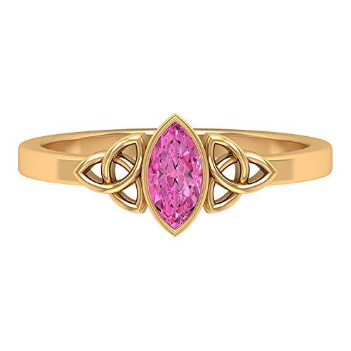 Anillo de nudo celta, 1/2 CT creado en laboratorio, anillo de zafiro rosa, anillo solitario (7 x 3, 14K Oro amarillo, Size:EU 70