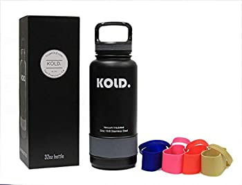 KOLD Sports Water Bottle 18oz - 40oz Vacuum Insulated Stainless Steel Sports Bottle Wide Mouth with Caribiner Handle Lid and 5 Different Colored Silicone Sleeves  32oz