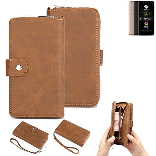 K-S-Trade 2in1 Handyhülle Für Allview A9 Plus Schutzhülle und Portemonnee Schutzhülle Tasche Handytasche Hülle Etui Geldbörse Wallet Bookstyle Hülle Braun (1x)