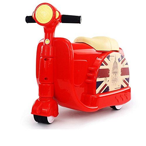 Huangdinghua Motorcycle koffer 2-in-1 koffer kan rijden mannelijke en vrouwelijke baby trolley geval voor peuters fawdry jongens Rood
